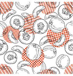 hand drawn sketch style peach pattern vector image