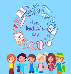 happy teacher s day poster vector image vector image