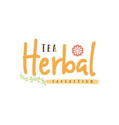 herbal tea collection badge design sticker vector image