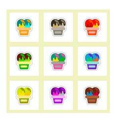 Label icon on design sticker collection ice cream vector
