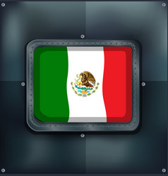 Mexico flag in metal frame vector