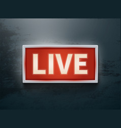 on air glowing sign live tv or radio light vector image vector image