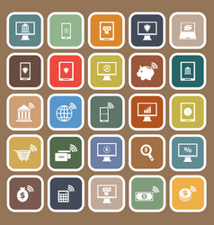 Online banking flat icons on brown background vector