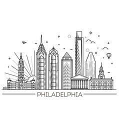 Philadelphia pennsylvania usa skyline with vector