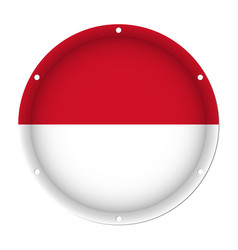 Round metallic flag of monaco with screw holes vector