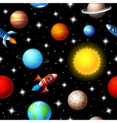 Seamless kids design of rockets and planets vector