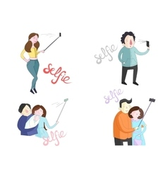 Selfie of people with smartphones vector
