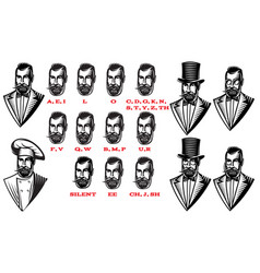 Set for man characters speaks animation set of vector