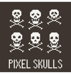 Set of six pixel skulls and crossbones vector image