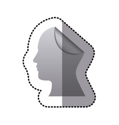 Sticker silhouette silver head human with fold vector