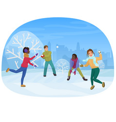 the group of friends playing the snowballs outside vector image vector image