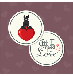 Valentine card with dog on heart vector