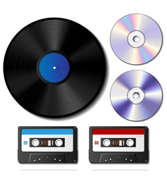Vinyl record CD and cassette tape set vector image vector image