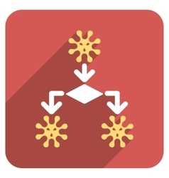 Virus reproduction flat rounded square icon with vector