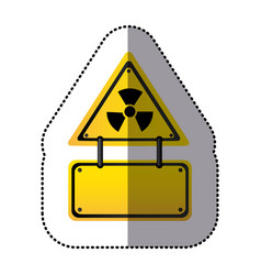 yellow metal emblem warning radiation notice sign vector image