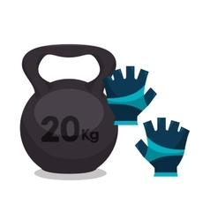 Cartoon dumbbell gloves fitness sport elements vector