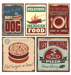Vintage style tin signs and retro posters vector