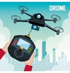 Drone with hand hold remote control graphic vector