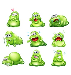 Nine green monsters engaging in different vector image