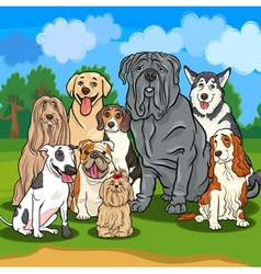purebred dogs cartoon vector image