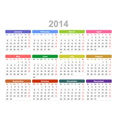 2014 year annual calendar monday first english vector image
