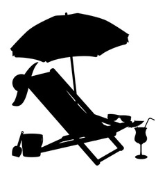 silhouette of beach chairs and umbrellas vector image