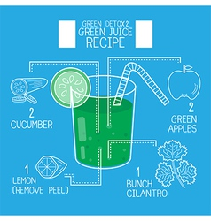 Green juice recipes great detoxifyblue tone vector