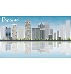 Panama city skyline with grey skyscrapers vector