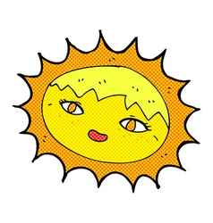 Comic cartoon pretty sun vector