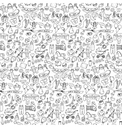 Seamless pattern with baby doodle elements vector