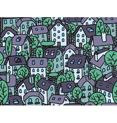 Seamless pattern with houses and courtyards vector