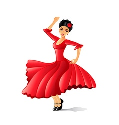 Girl dancing flamenco isolated on white vector