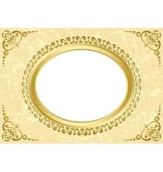 Oval frame on beige grunge background vector