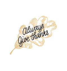always give thanks lettering oak leaf hand vector image
