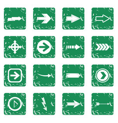 arrow icons set grunge vector image