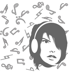 Background with girl listening to music vector image vector image