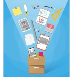 box full of office supplies vector image vector image