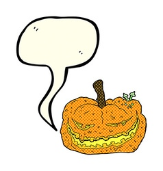 Cartoon halloween pumpkin with speech bubble vector