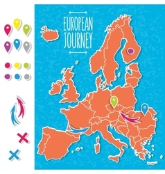 Cartoon style hand drawn journey map of europe vector