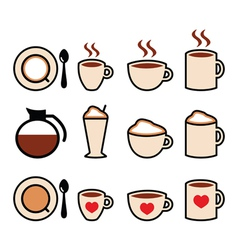 Coffee icons set in color vector image vector image