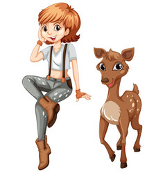 Cute girl and little fawn vector