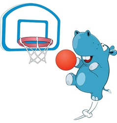 Cute Hippo Basketball Player vector image