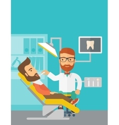 Dentist man examines a patient teeth in the clinic vector image