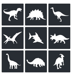 Dinosaurs icons set vector