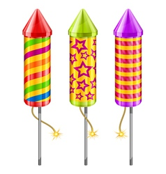 fireworks sky rockets vector image vector image