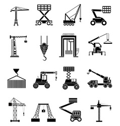 Heavy lifting machines icons set vector image