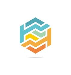 letter line hexagon design symbol vector image vector image