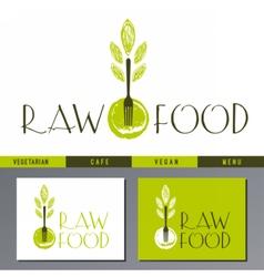 logo for vegan cafe menu vector image