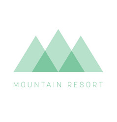 mountain resort logo template green triangle vector image vector image