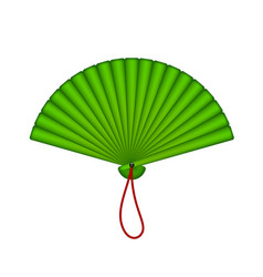 Oriental fan in green design vector